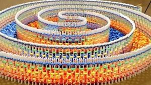 Umělkyně skládala 15 000 kostek domina více než 25 hodin. Když padají, objevuje