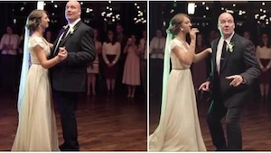 Otec tančil na svatbě se svojí dcerou, za malou chvíli ale udělal něco, co nikdo