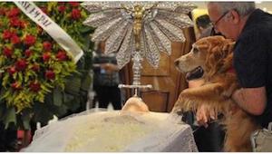 Jeho pán zemřel. Jeho psu se rozhodli dát šanci se s ním rozloučit.