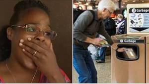 Mladá žena spatřila staršího muže, který se slzami v očích vyhazoval do koše dár