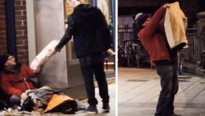 Neznámý muž daroval bezdomovci svou bundu. Skrytá kamera natočila něco úžasného.