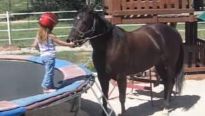 3letá holčička chce jezdit na koni. To, co natočila její máma, je úžasné!